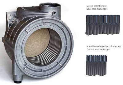 Scambiatore monotubo in acciaio inox della caldaia STEP AETERNA MX PN